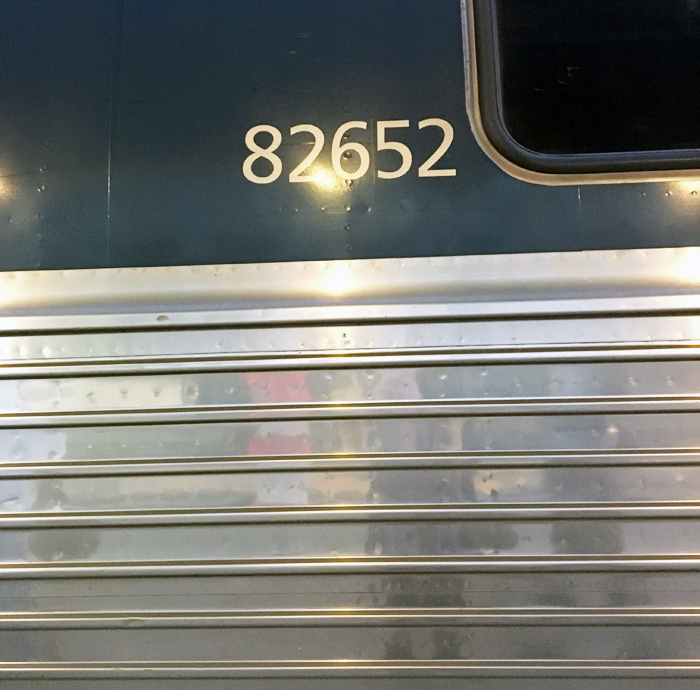 A hastily snapped photo of my train car's number so I'd find it easily on the way back.